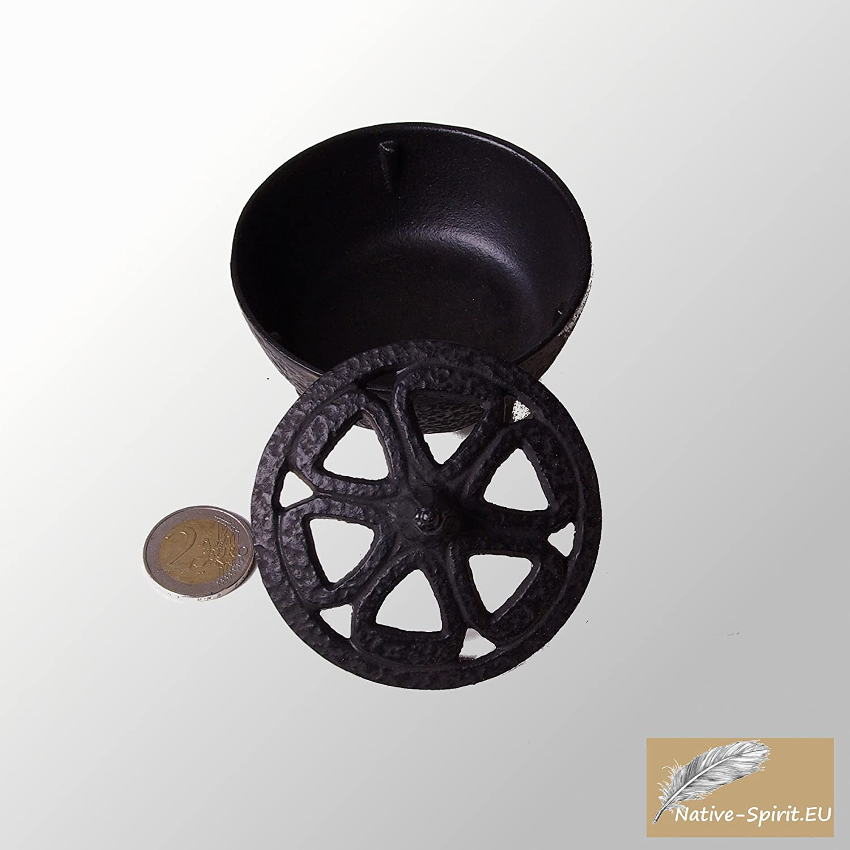 uemador de incienso tradicional de hierro fundido con diseño de flor de loto para fumar con palos de carbón o de incienso, quemador de incienso - hierro fundido - negro con tapa 8,5x7cm