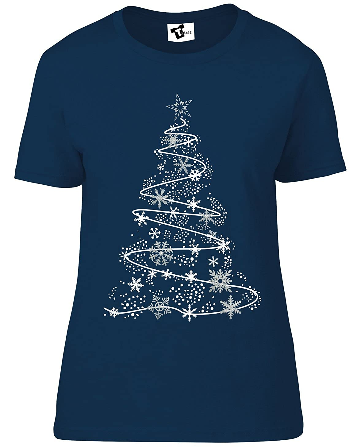 964efa07b57 Teezee Snowflake Christmas Tree T-Shirt - Women's