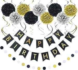 LITAUS Birthday Decorations, Black and Gold Happy Birthday Decorations for Women, Happy Birthday Banner, Hanging Swirls, Paper Garlands for 1 Birthday Decorations, Birthday Party, Girls Birthday