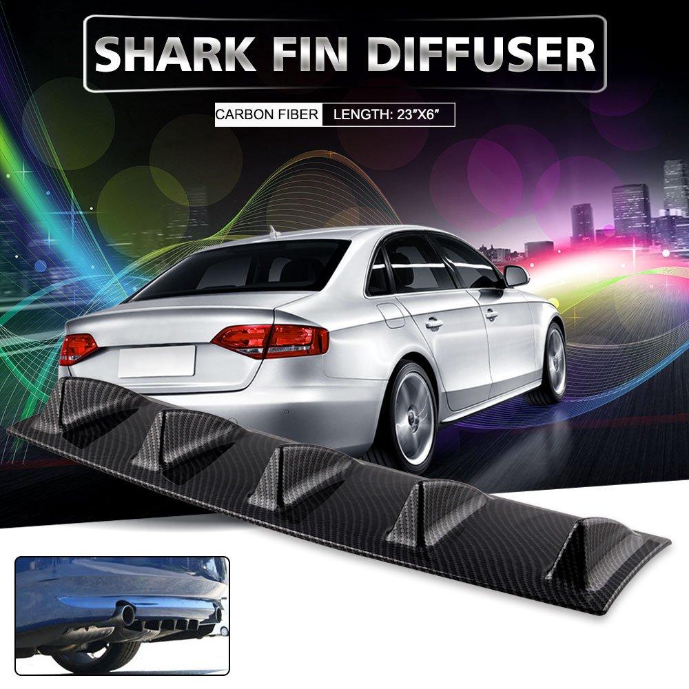 Ruien 23'' x6'' Universal Rear Bumper Lip Diffuser 5 Shark Fin Style Gloss Carbon ABS (Water Transfer Printing)
