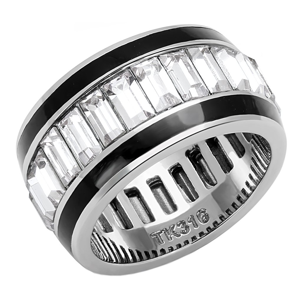 Lanyjewelry Clear Baguette Cut CZ All Around Ring in Stainless Steel Eternity Wide Band - Size 6