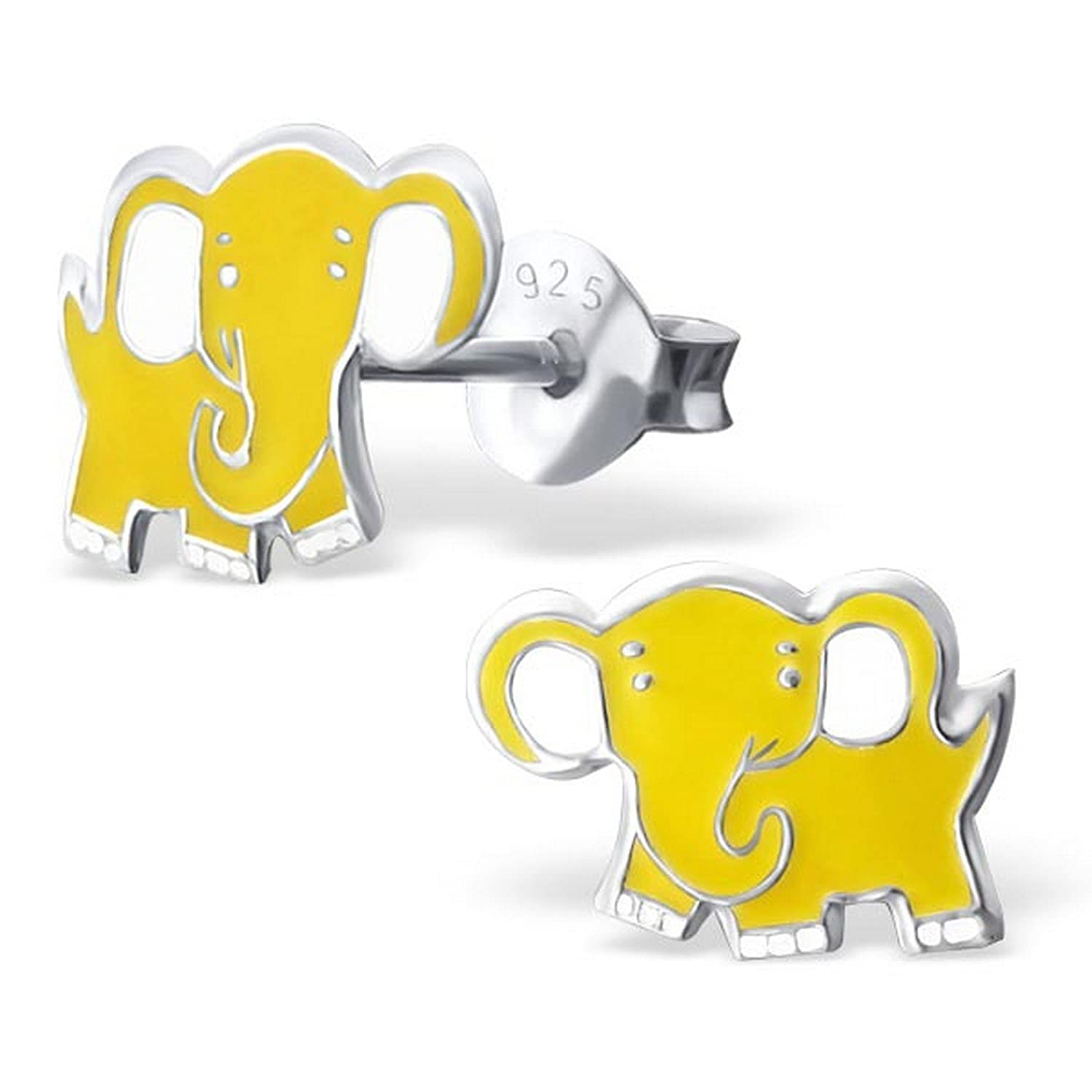 Girls Elephant Colorful Ear Studs 925 Sterling Silver