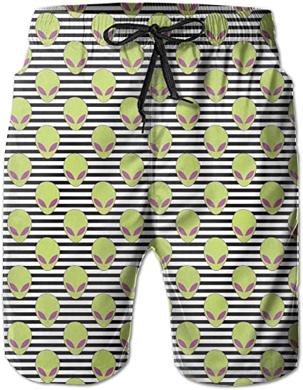 Alion Mens Summer Swim Trunks Printed Quick Dry Mesh Liner Beach Shorts with Pockets