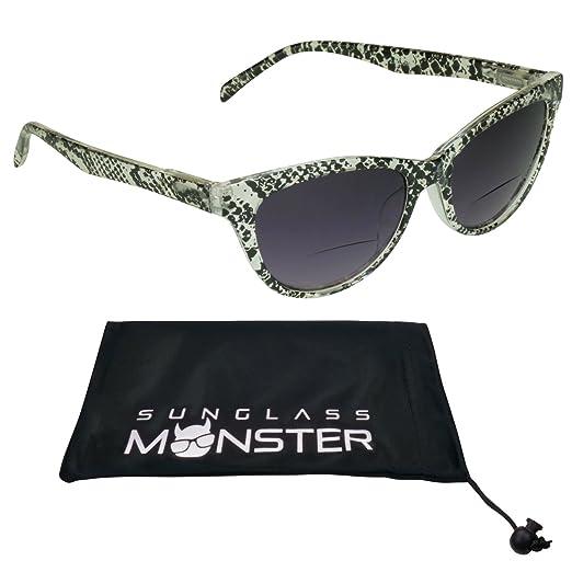 d4eb410cf88 Amazon.com  Cateye Bifocal Glasses Tinted Womens Snake skin Pattern ...