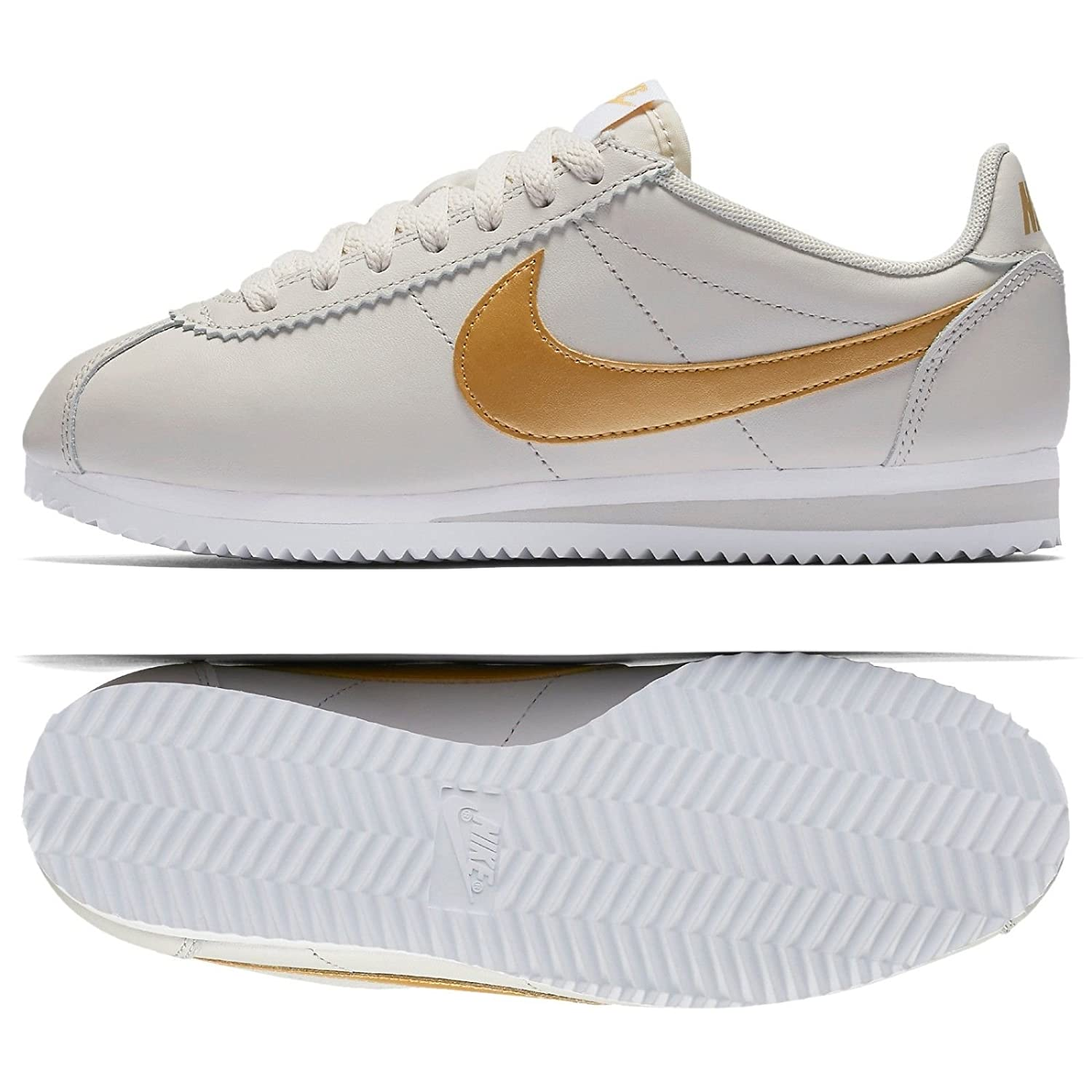 Nike Classic Cortez Leather  Light Bone , Zapatillas Deportivas de Mujer 40 EU|Light Bone/Metallic Gold-white