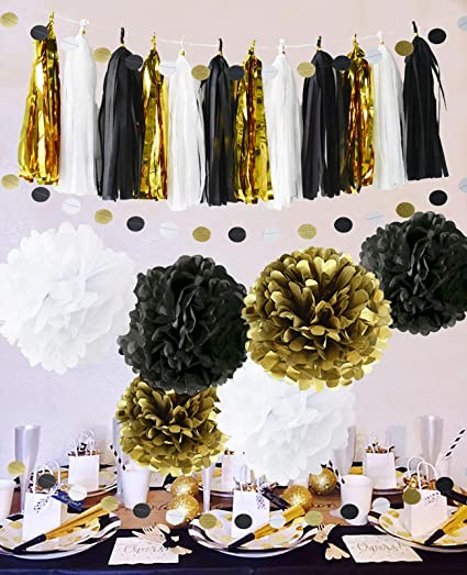 Amazoncom 2019 Happy New Year Decorations Black And Gold New Years