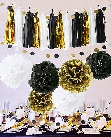 Frohes Jahr Partydekorationen Schwarz Weisses Gold Seidenpapier Pom