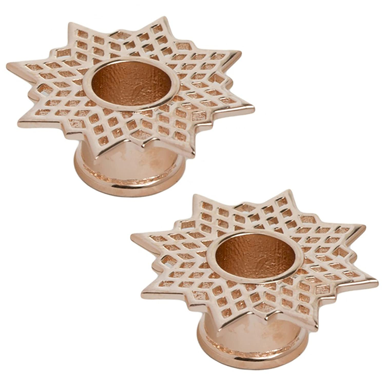 4g Tawapa 56-PAIR-RGP31-4 Steel Navel Body Jewelry Pair of Rose Gold Plated Double Flared Supernova Eyelets