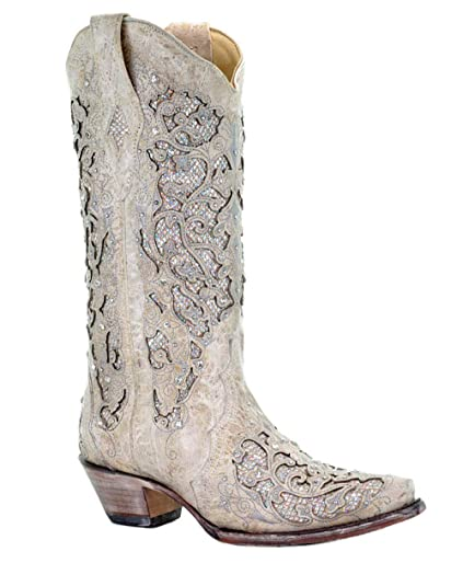 b8a458af852 Corral Women's 13-inch White/Green Glitter Inlay & Crystals Pull-On Cowboy  Boots - Sizes 5-12 B