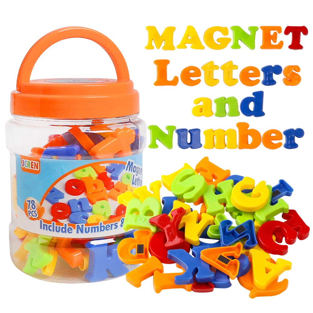 JCREN Magnetic Alphabet Magnets Letters and Numbers Toy ABC 123 Fridge Plastic Toy Set Educational Magnetic in Bucket…