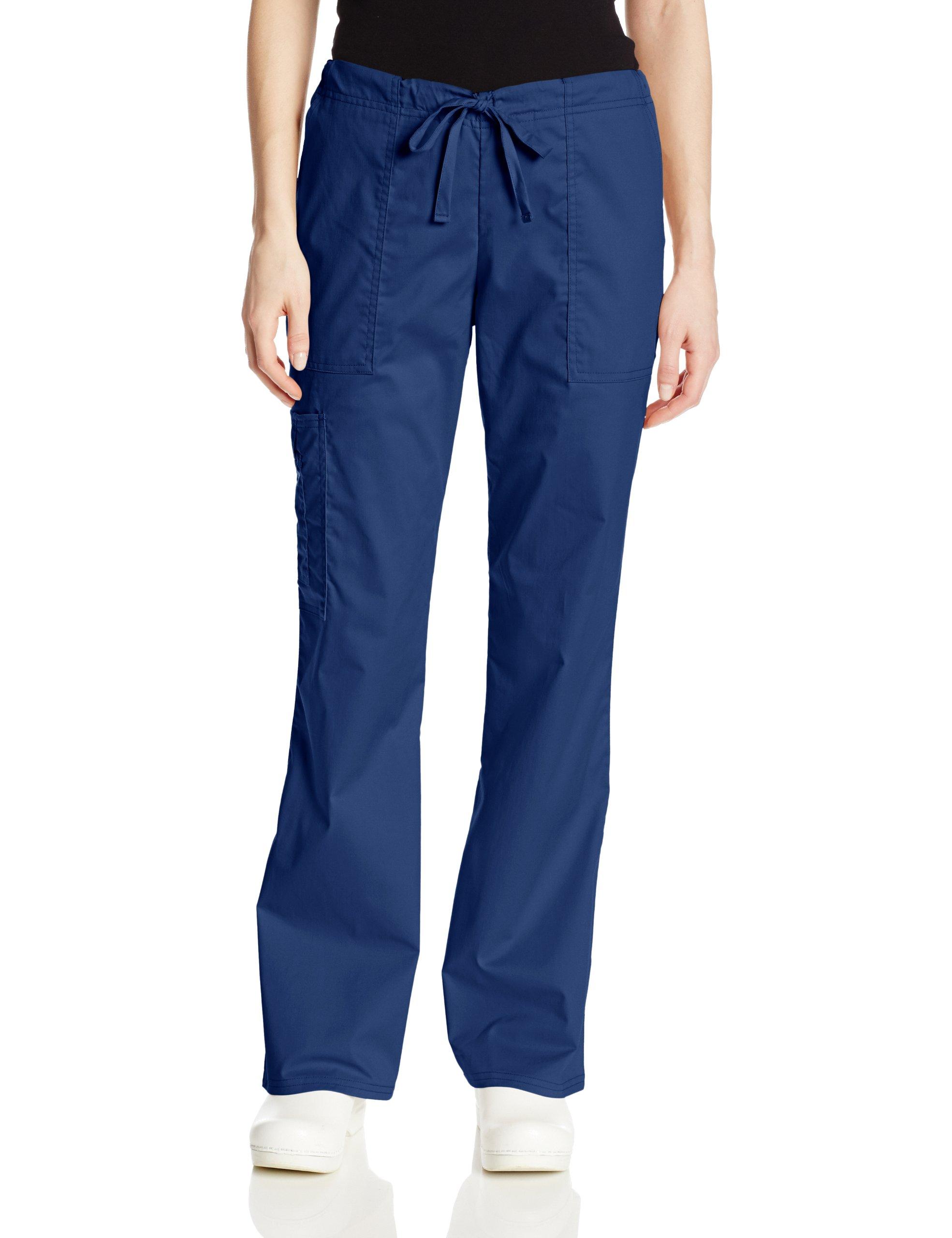Cherokee Women's Workwear Scrubs Mid-Rise Core Stretch Drawstring Cargo Pant, Navy, X-Large