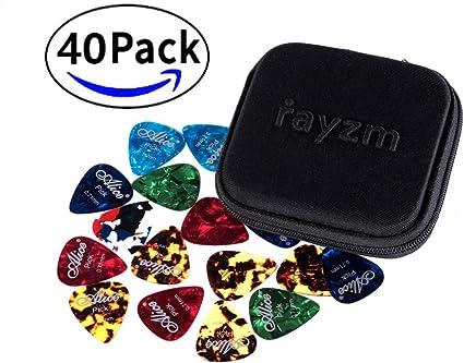 Rayzm Púas Pick Plectrums para guitarra 40 unidades con una caja ...