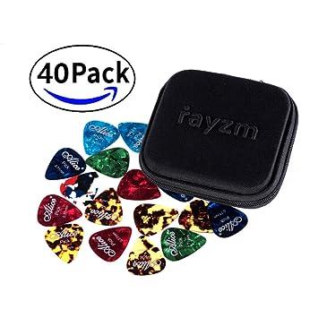 Rayzm Púas Pick Plectrums para guitarra 40 unidades con una caja resistente de almacenaje,Picks Premium de celuloide para guitarra, bajo, varios ...