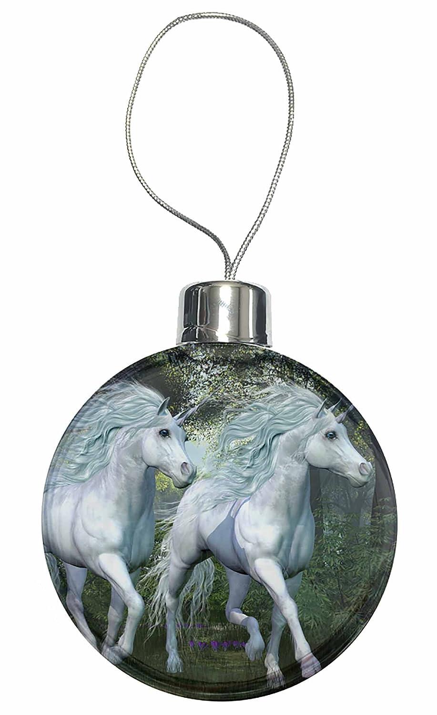two white unicorns christmas tree bauble decoration gift