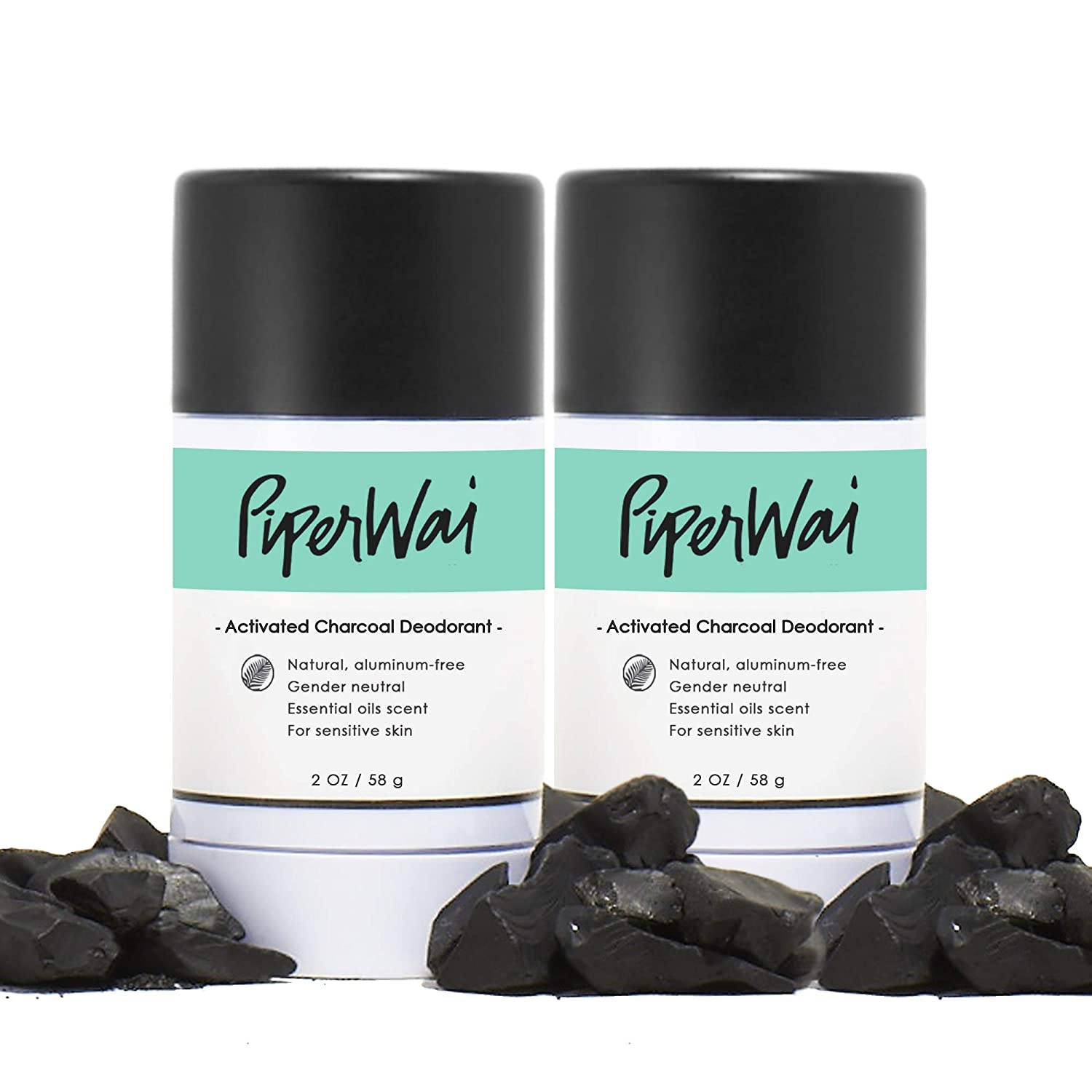 PiperWai, Natural Activated Charcoal Deodorant, Organic, Aluminum-Free, Odor-Absorbing and Wetness Fighting, Coconut Oil, Gender-Neutral (As Seen on Shark Tank) (2 Pack Stick (2.7 oz))