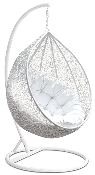 Hindoro Indoor Outdoor Single Seater Swing Chair with Stand (White)