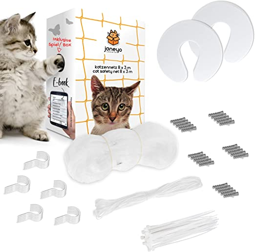 JANEYO - Red de protección para gatos, 8 x 3 m, para balcón y ventana, incluye material de fijación: Amazon.es: Productos para mascotas