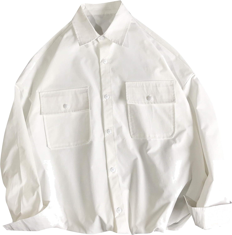 CuteRose Men Casual Baggy Pure Color Basic Cotton Long Sleeve Work Shirt