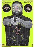 "Splatterburst Targets - 12 x18 inch - ""Bad Guy"" Reactive Shooting Target - Shots Burst Bright Fluorescent Yellow or Red Upon Impact - Gun - Rifle - Pistol - AirSoft - BB Gun - Air Rifle"
