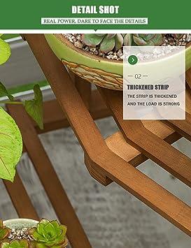 Estantería para Macetas Soporte de Madera con Valla para Plantas Flores Estantería Decorativa para Jardín Exterior Interior - 110X80CM: Amazon.es: Hogar