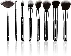 Set de 8 brochas maquillaje definitivo con estuche de cuero –Incluye ocho brochas de pelo sintético para un acabado perfecto. Brochas de la mejor calidad –Elegidas por los maquilladores profesionales: Amazon.es: Belleza