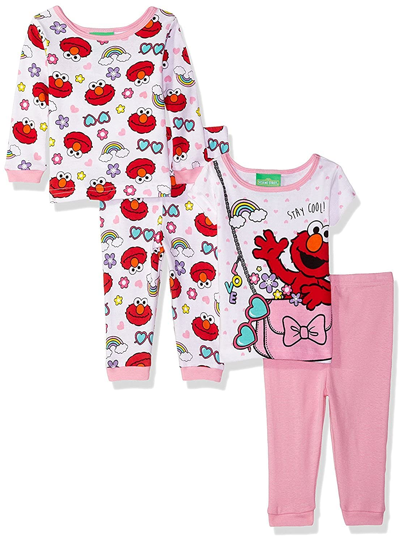 Sesame Street Elmo Pink Purse Toddler 4-Piece Pajama Set for girls SS247TSL