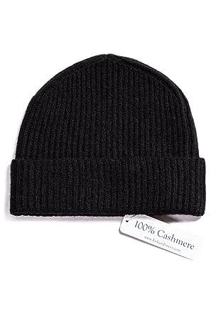 5f5bcc5c7528d Fishers Finery Men s 100% Cashmere Ribbed Hat  Cuffed  Super Soft (Black)