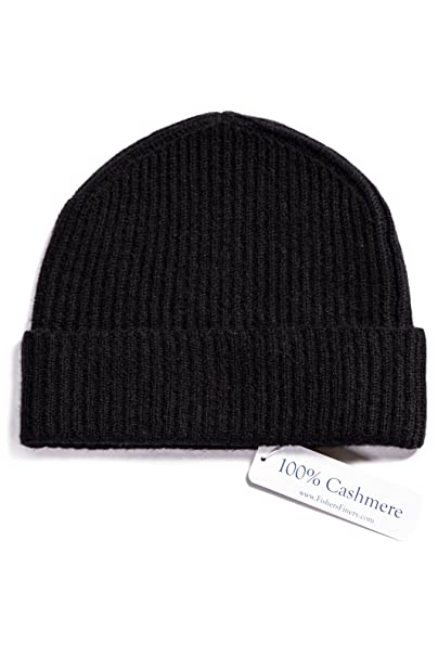 2f3b65f06 Fishers Finery Men's 100% Pure Cashmere Ribbed Cuffed Hat; Ultra Plush
