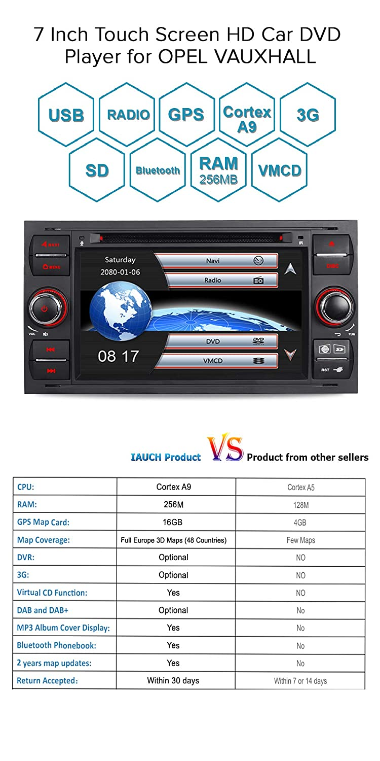 BLACK GPS Navigation for Car with Free Map Updated Support DAB DVR Mirror Link Steering Wheel Control 4K Video Playback VMCD 3G for Ford Transit Focus Kuga S-Max IAUCH Car Radio Sat Nav