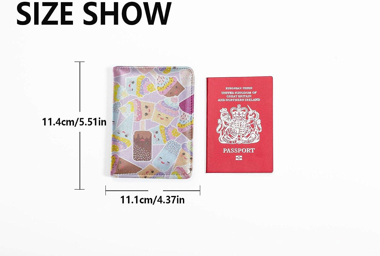 Cartoon Passport Cover Cute Personification Cartoon Image Mens Leather Passport Case Multi Purpose Print Passport Holder Case For Men Travel Wallets For Unisex 5.51x4.37 Inch