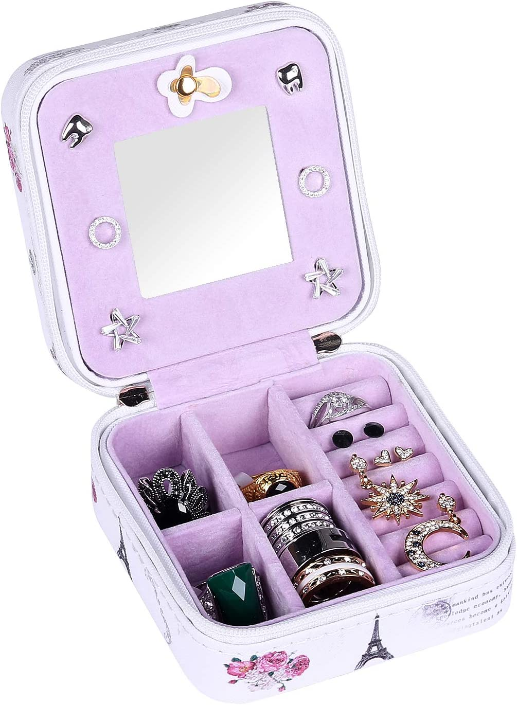 Jewelry Boxes Home Kitchen Pu Leather Leaning Eiffel Tower Jewelry Organizer Travel Storage Case For Rings Earrings With Mirror Portable Small Jewelry Box