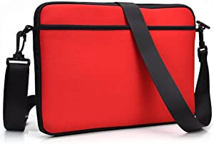 """Kroo ND13SCR1 13.3"""" Messenger Style Neoprene Bag Case with Front and Rear Pockets, Red"""