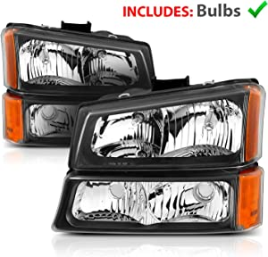 AmeriLite for 2003-2006 Chevy Silverado 1500HD 2500HD 3500 / Avalanche 1500 2500 Pickup Assembly Black Headlights Replacement w/Turn Signal & Bumper Light Set - Driver and Passenger Side