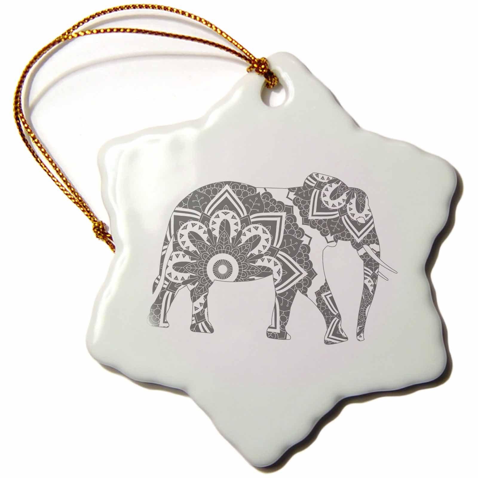 3dRose Mandala Elephant Snowflake Ornament, 3''