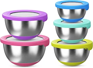 Stainless Steel Mixing Bowls with Lids (Set of 5) – Kitchen Nesting Bowl for Serving, Salad, Marinating, Dough, Baking & Food Storage – Colorful Nonslip Bottoms – Stackable & Space Saving, Colorful…