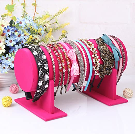 Amazon Com Homeanda Hot Pink Velvet Detachable Headband Hair Hoop Hairband Clasp Holder Display Stand Rack Organizer Home Improvement