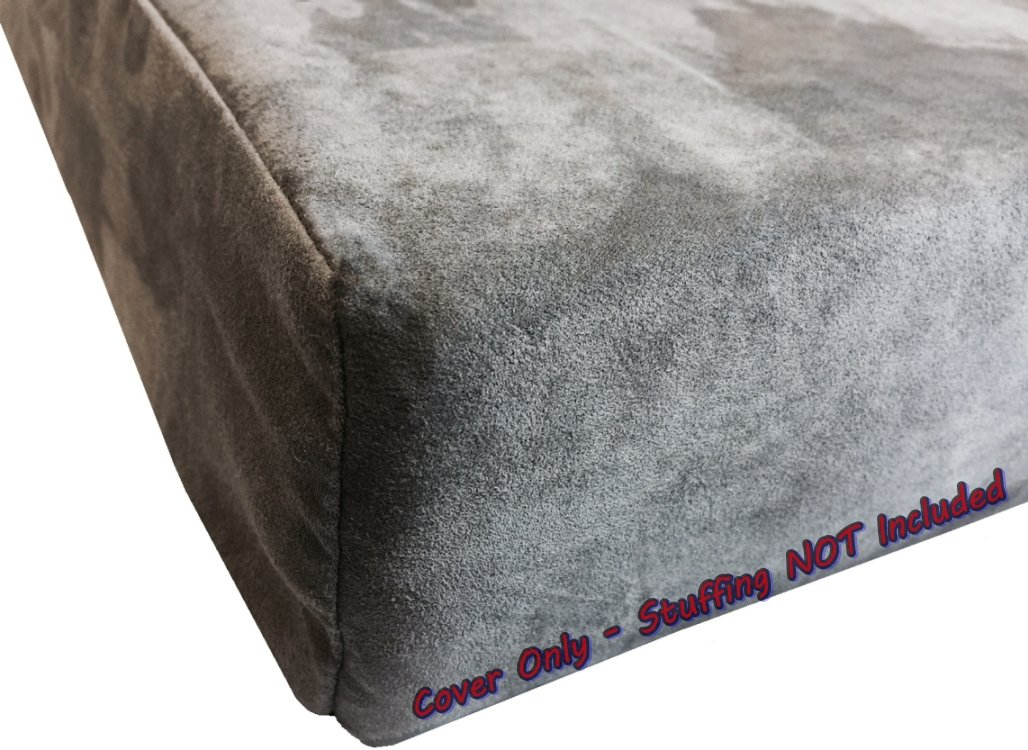 37\ Dogbed4less DIY Pet Bed Pillow Grey MicroSuede Duvet Cover and Waterproof Internal case for Dog and Cat at 37X27X4 Inch Covers only