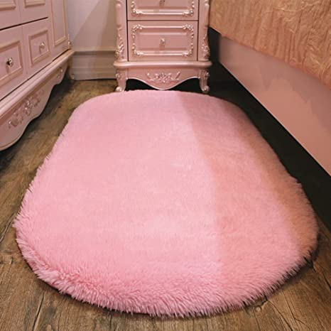 HIGOGOGO Shag Runner Rug, Fluffy Bedside Rugs Oval Room Rug, Kids Room  Carpets Bedroom