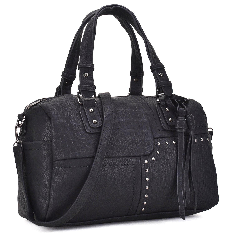 b53f69b1fd00 Dasein Women Designer Black Handbags Soft Vegan Leather Tote Bags Large  Shoulder Satchels Purse W Crossbody Strap