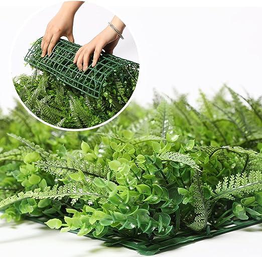 Luyue Paneles artificiales de color verde hiedra para interior/exterior para jardín, césped artificial, cuadrado, para decoración del hogar, boda, valla para decoración de jardín, adorno paisajístico de hierba, Style-2: Amazon.es: Jardín