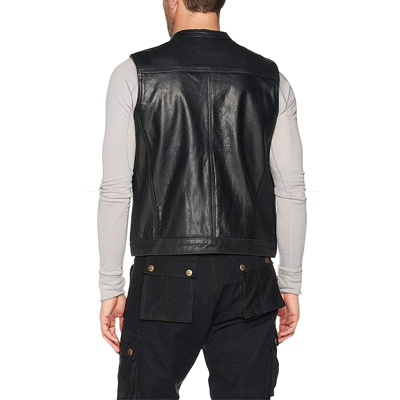 Black 2XL Bikers Gear Australia The Revolver Motorcyle Leather Vest Sons of Anarchy Style Biker Sleeveless Waistcoat