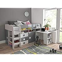 Furnistad Kinderzimmer Komplett EKO | Kinder Halbhochbett mit Schrank, Schreibtisch und Leiter