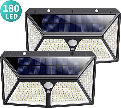 180 LED Luz Solar Exterior, Kilponen [Versión Mejorada 2500mAh] Foco Solar Exterior con Sensor de Movimiento Luces Solares Jardín Gran Ángulo 270ºde Iluminación Lámpara Solar Impermeable 2-Paquete: Amazon.es: Hogar