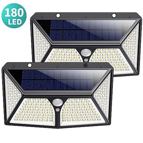 180 LED Luz Solar Exterior, Kilponen [Versión Mejorada 2500mAh] Foco Solar Exterior con Sensor de Movimiento Luces Solares Jardín Gran Ángulo 270ºde ...