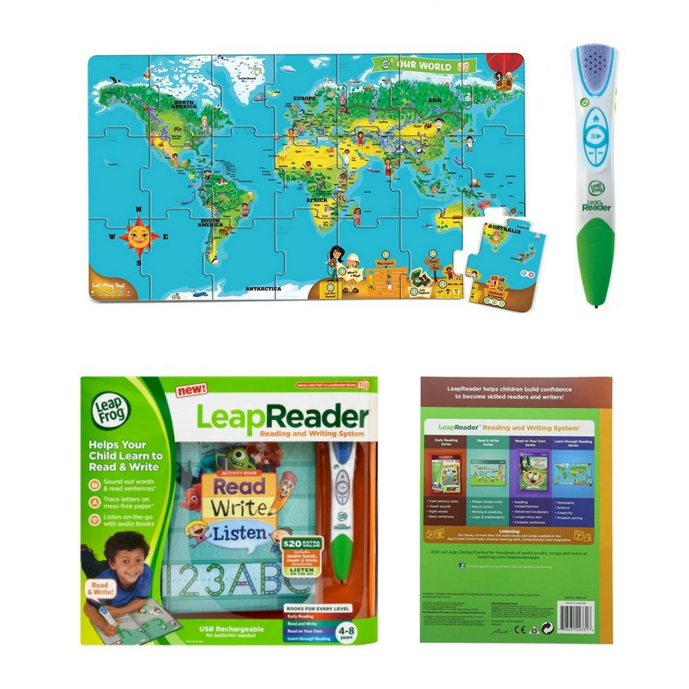 LeapFrog LeapReader Reading and Writing System Green and LeapReader Interactive World Map Puzzle Bundle For Kids 4-8 Years, Kids Interactive Learning Gift Set, Fun Activity!