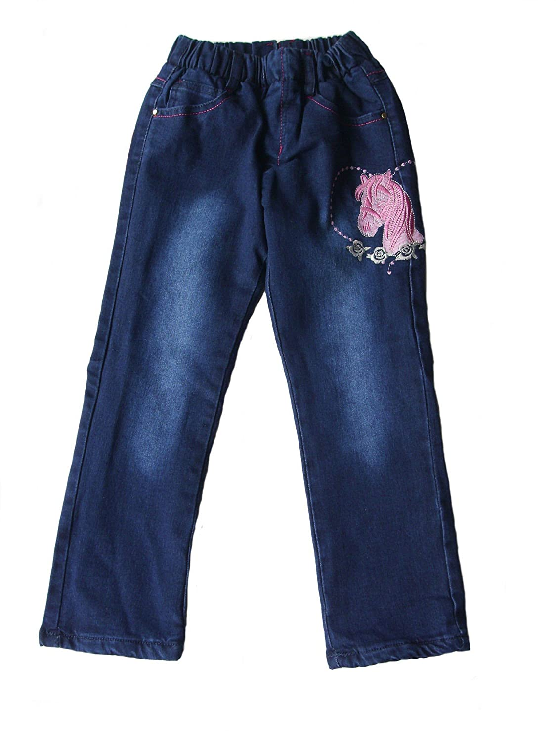 Kinder Mädchen Thermo Jeans, Thermojeans, Thermohose, gefüttert, mit Motiv, AM-KI-MAE-Jeans-Thermo-MH06-bl