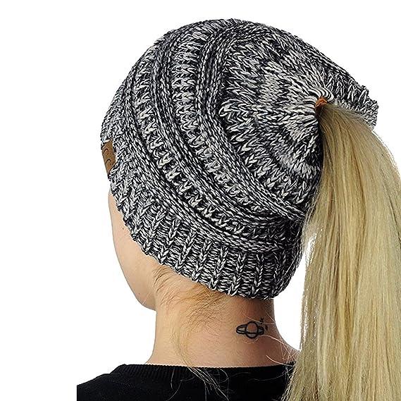 44ebc353f Qiman Womens Ponytail Cap, Warm Beanie Tail Knitted Hat Messy High Bun  Ponytail Hat