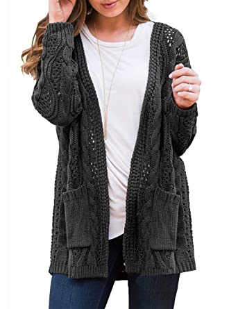 04886a5b37b Allimy Women Winter Long Sleeve Open Front Knit Sweater Cardigans with  Pockets Black Small