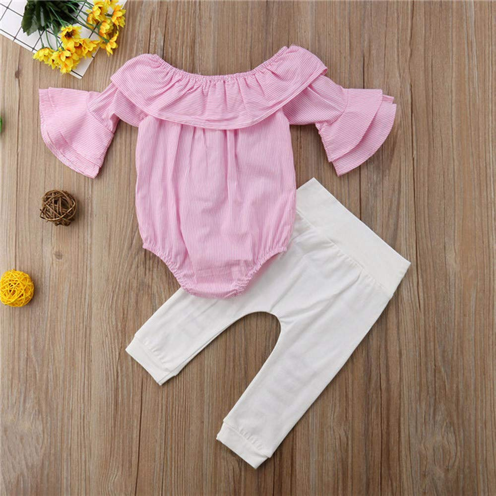 Naiflowers Fashion Toddler Infant Baby Girl Striped Soft Cute Tops Romper Ripped Pants Outfits Clothes Set 6M-24M