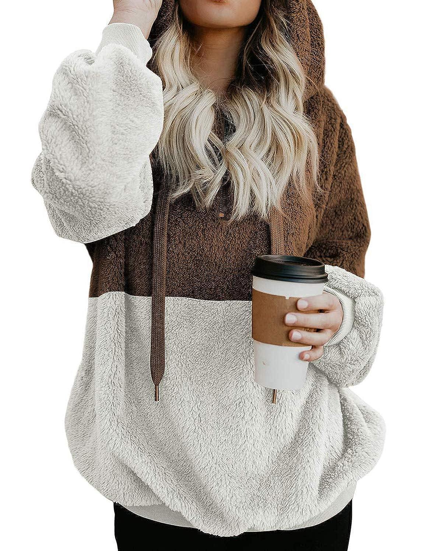 SCX Women Oversized Sherpa Pullover Hoodie Sweatshir twith 1//4 Zip